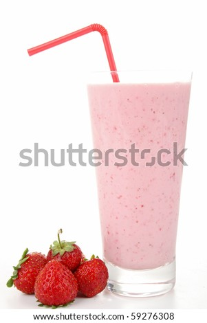 strawberry smoothie on white background - stock photo