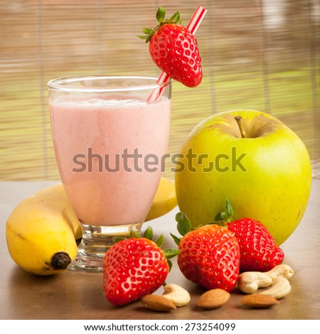 Strawberry smoothie refreshing fruit meal - healthy vegetarian food - stock photo