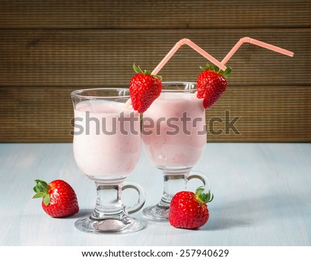 strawberry smoothie with fresh strawberries - stock photo
