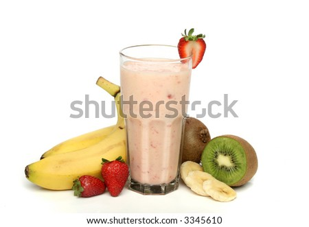 Strawberry smoothie with fruits composition