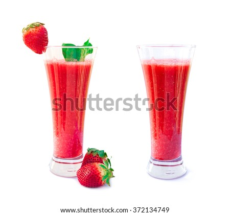 strawberry smoothies isolated on white background, Strawberry Smoothie in a Glass with Straw and Garnish, Strawberry smoothie with fresh strawberry collection    - stock photo