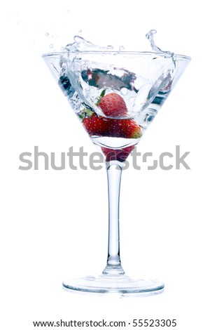 strawberry splash into drink