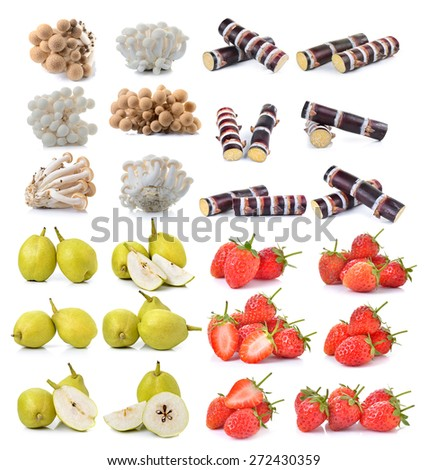 Strawberry , sugar cane, brown beech mushroom ,pear on white background - stock photo