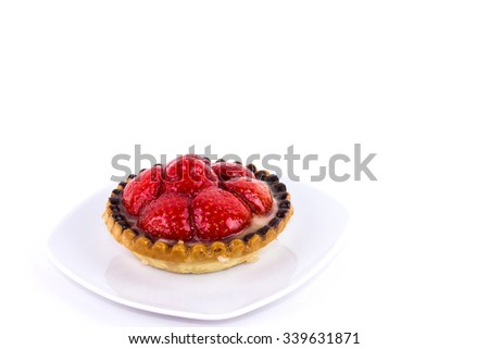 Strawberry Tartlet Isolated on White - stock photo