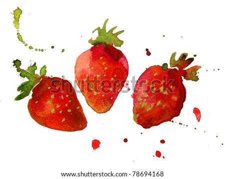 strawberry watercolor - stock photo