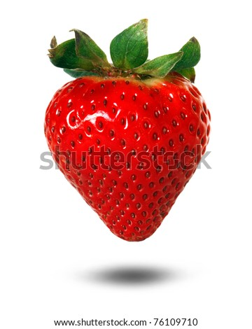 strawberry with drop shadow - stock photo