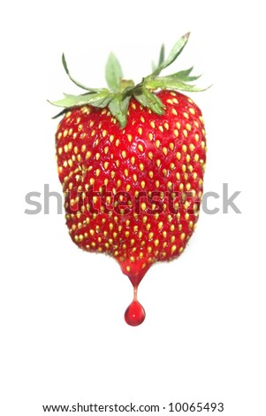 Strawberry with drops on white background
