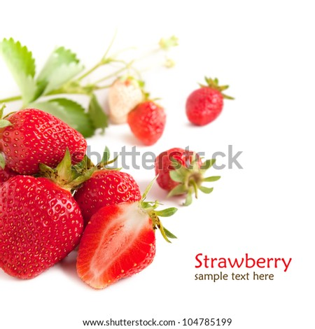 Strawberry with green leaf - stock photo