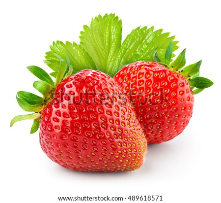 Strawberry with leaves isolated on white background. With clipping path.