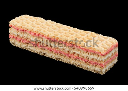 Strawberry yellow wafer closeup isolated on black background