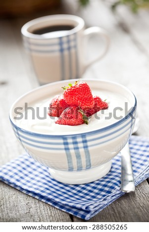 strawberry yogurt - stock photo