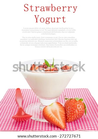 Strawberry yogurt dessert on a white background with copy space - stock photo