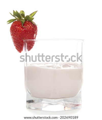 strawberry yogurt in a glass on a white background - stock photo