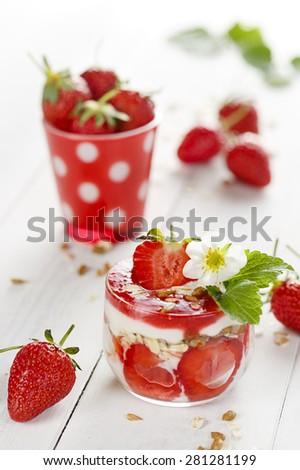 Strawberry yogurt parfait. Delicious and healthy breakfast - stock photo