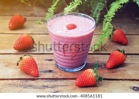 strawberry yogurt smoothie - stock photo