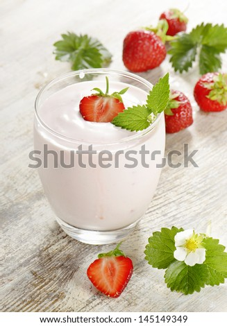 Strawberry yogurt with fresh berries. Selective focus