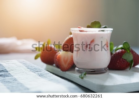 strawberry yogurt with fresh strawberry
