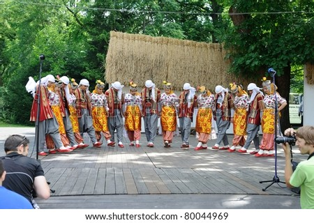 STRAZNICE, CZECH REPUBLIC - JUN 25: Folk dance group Gaziantep, Turkey at International folk festival in Straznice Jun 25, 2011 in Straznice, Czech Republic - stock photo