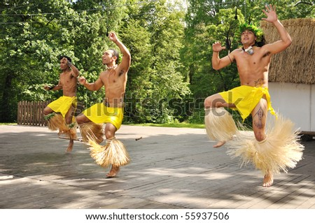 STRAZNICE - JUNE 24: Wild Indian dancers from Chile - Tutanga, Ballet cultural Rapa Nui, June 24, 2010 in Straznice, Czech Republic - stock photo