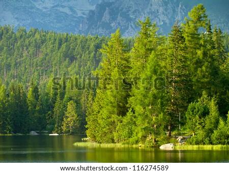Strbske Pleso, beautiful lake in High Tatras mountains, Slovakia - stock photo