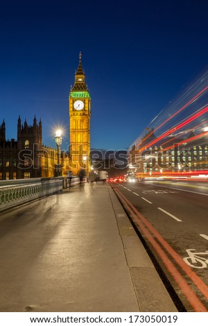 Streaks of light in the evening just after sunset, Big Ben at night, London - stock photo