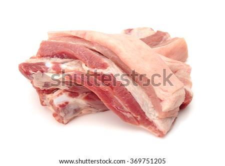 streaky pork isolated - stock photo