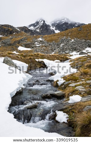 stream and mountain landscape on Lake Alta Track in Queenstown, New Zealand - stock photo