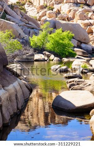 Stream and rocks in Joshua Tree National Park, California, USA - stock photo