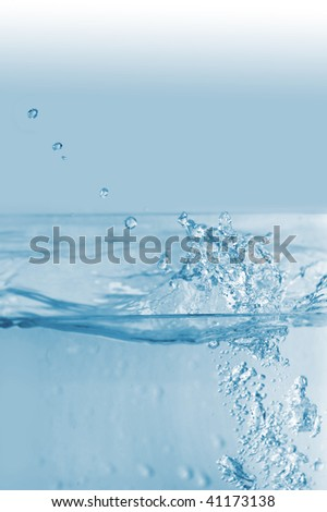 Stream and splashes of cold water  background - stock photo