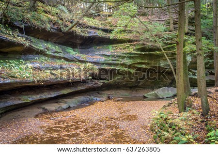 Stream Bed in Valley Gorge in Autumn