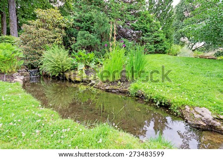 Stream in a garden - stock photo