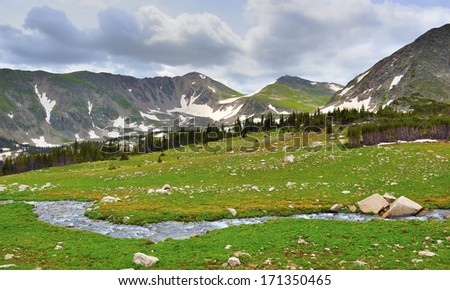 stream in the high alpine tundra in Rawah Wilderness, Colorado during summer - stock photo