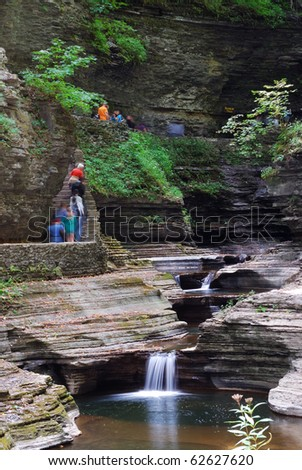 stream in woods in Watkins Glen state park in New York State - stock photo