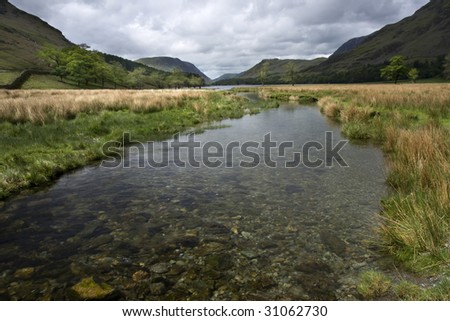 Stream leading to Buttermere, Lake District England - stock photo
