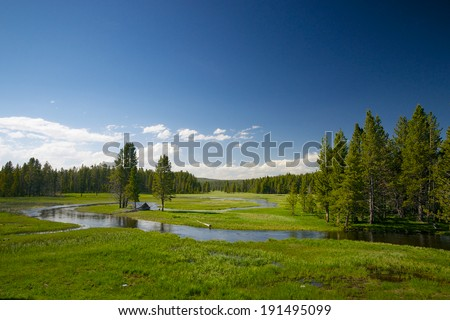 Stream meanders through a meadow in Wyoming's Yellowstone National Park. - stock photo
