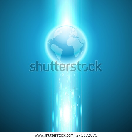 Stream of binary code to the globe - stock photo
