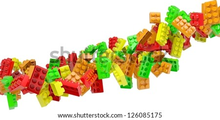 Stream of colored children's blocks. Isolated 3d rendering - stock photo