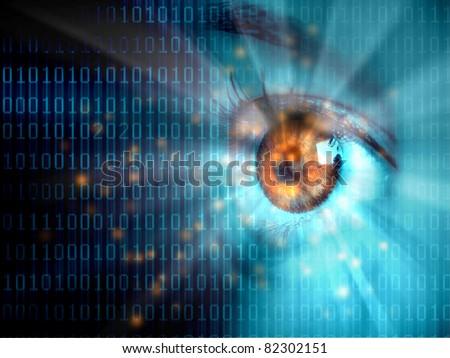 Stream of digital data with a human eye - stock photo