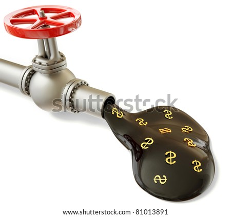 stream of fuel coming out of the pipe on a white background - stock photo