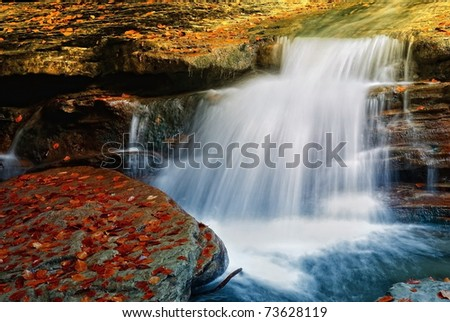 stream with red leaves in october - stock photo