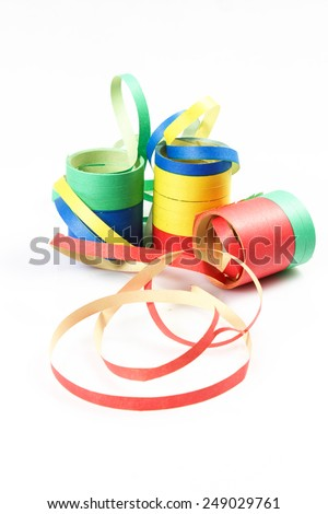 Streamer and Confetti on the white background - stock photo