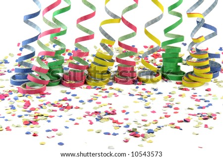 streamers and confetti texture isolated on white background celebration and holiday concepts
