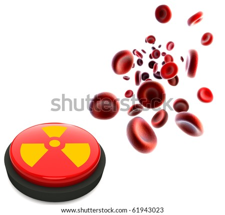 streaming blood cells and button with nuclear sign - stock photo