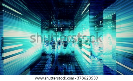Streaming digital data abstraction 10782 from a series of futuristic tech imagery. - stock photo