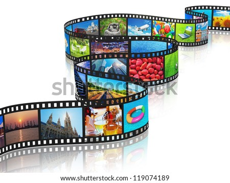 Streaming media concept: filmstrip with colorful photos isolated on white background with reflection effect - stock photo