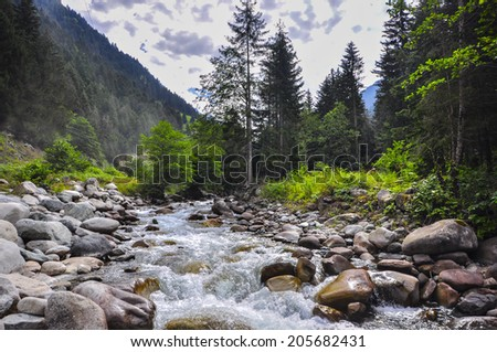 streams and fields - stock photo