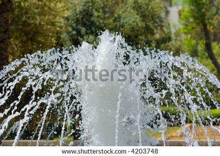 Streams of fountain close-up - stock photo
