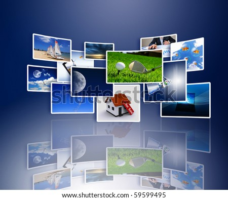 Streams of images symbolizing the new technology and media environment - stock photo