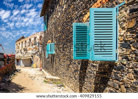 Street along old houses at Goree island, Senegal - stock photo