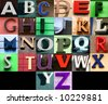 Street alphabet collage. Colorful letters from towns and cities. - stock photo